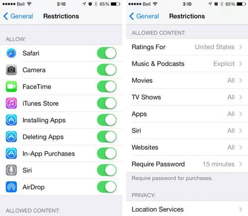 iphone enable restrictions
