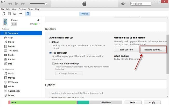 Restore Viber Messages from iTunes Backup