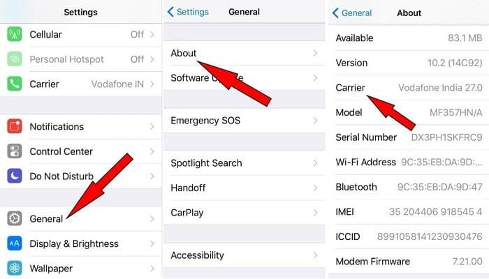 update carrier settings to fix iphone says no service