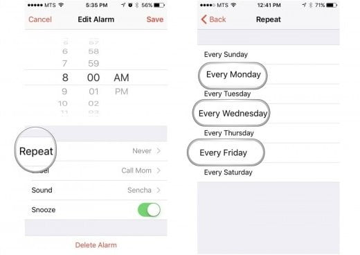 Check Alarm Settings to fix iPhone alarm not working