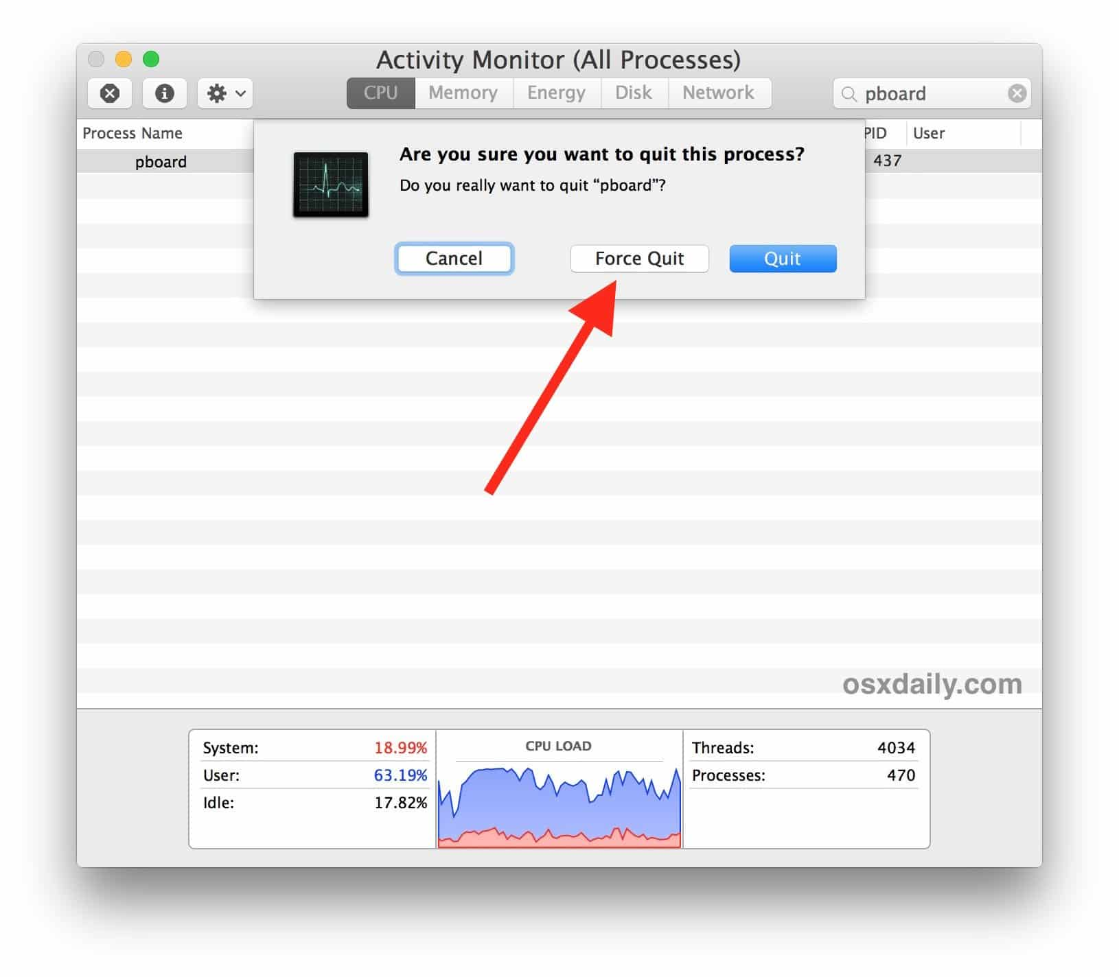 Fix Copy and Paste Not Working on Mac through Activity monitor