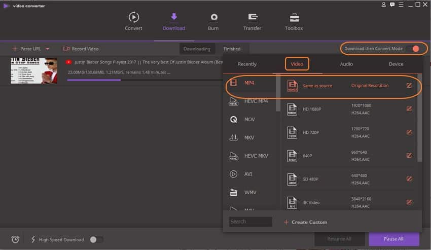 Download URL to MP4 with Uniconverter