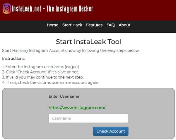 How to figure out someones Instagram password with Instaleak