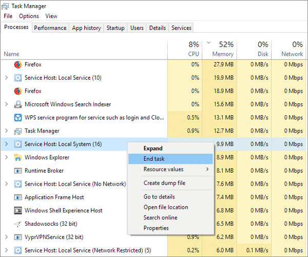 Disable Service Host Local System High Disk in Task Manager