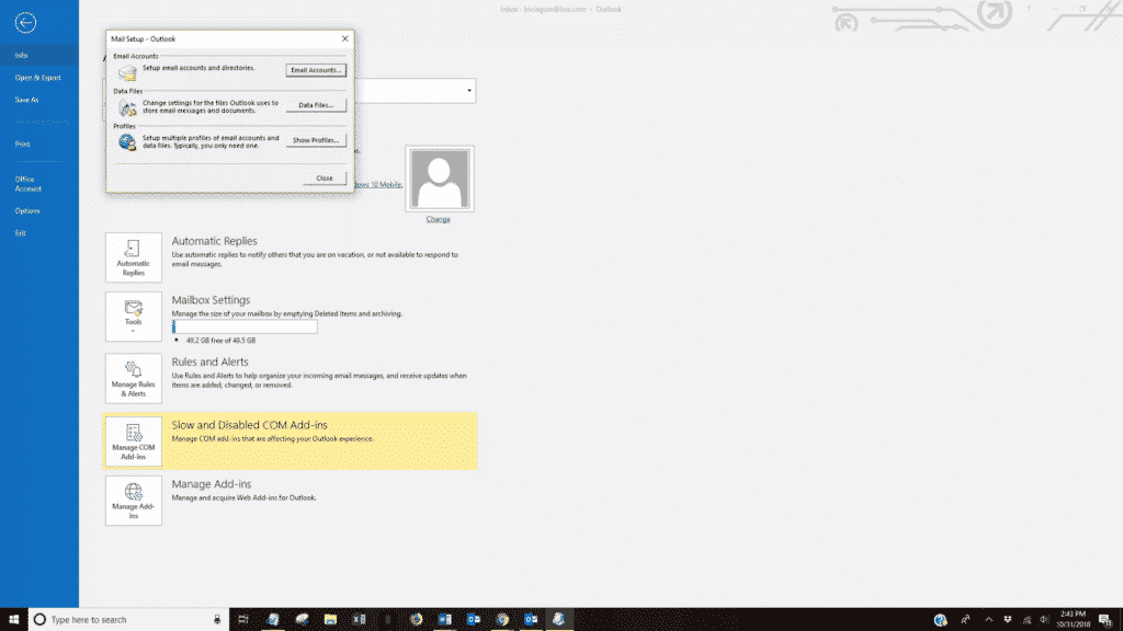 Create a new outlook profile to repair Outlook Not Receiving Emails