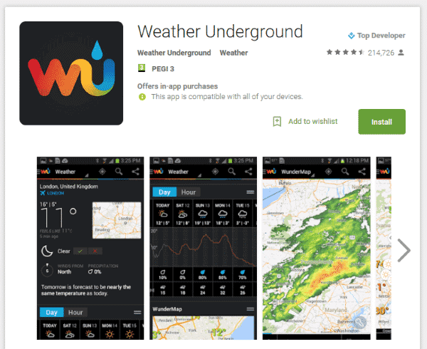 WunderMap Review on Google Play Store