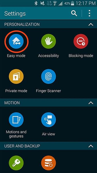 Turn on Easy Mode to fix Unfortunately TouchWiz home has stopped issue