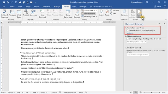 Adding Editing Restrictions on Word