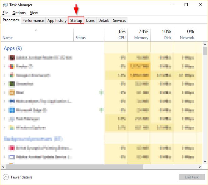 There are too many startup programs so the Windows 10 slow