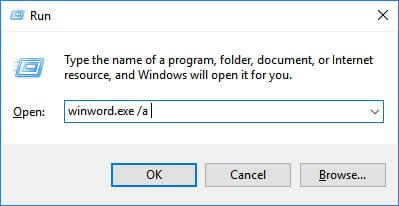 Disable all add-ins to fix Fix Microsoft Word Not Responding