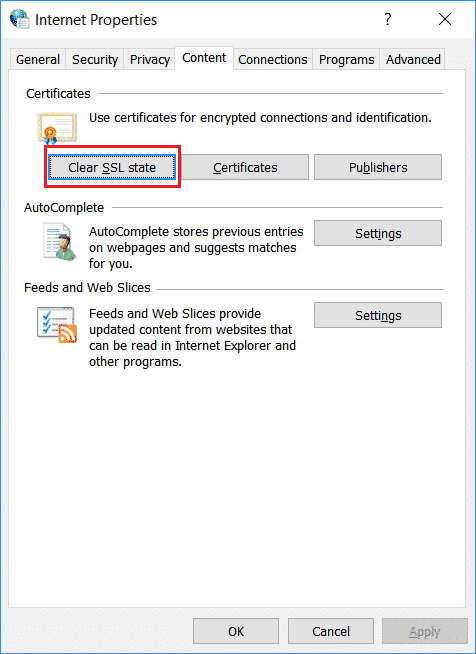 Clearing the SSL state of your computer