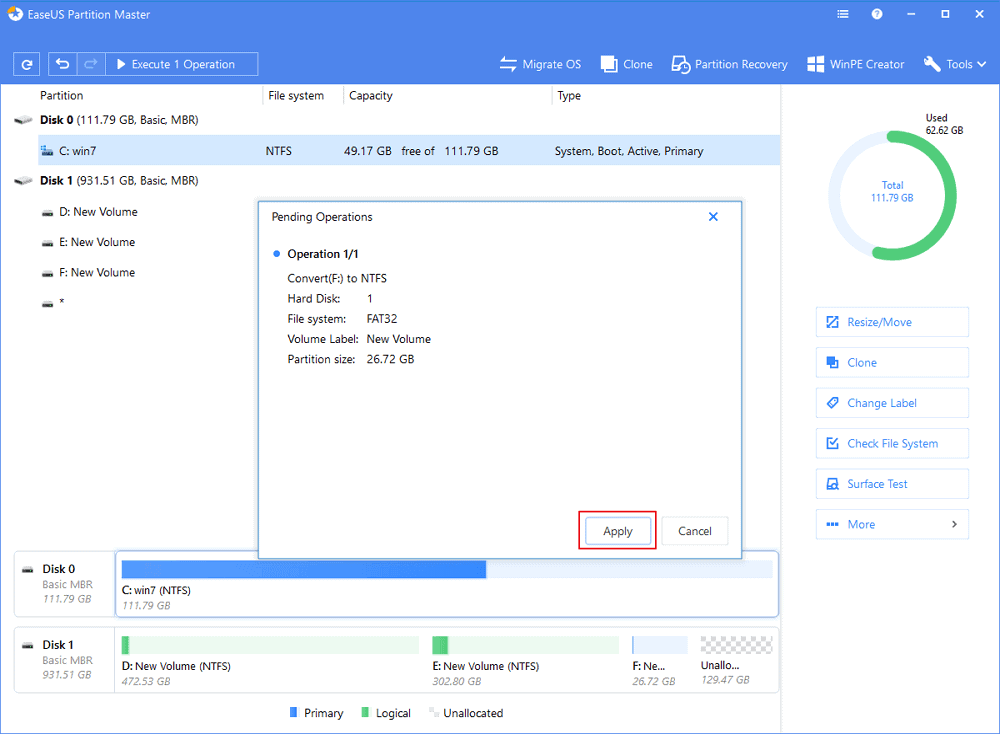 convert fat to ntfs to fix file too large for the destination file system