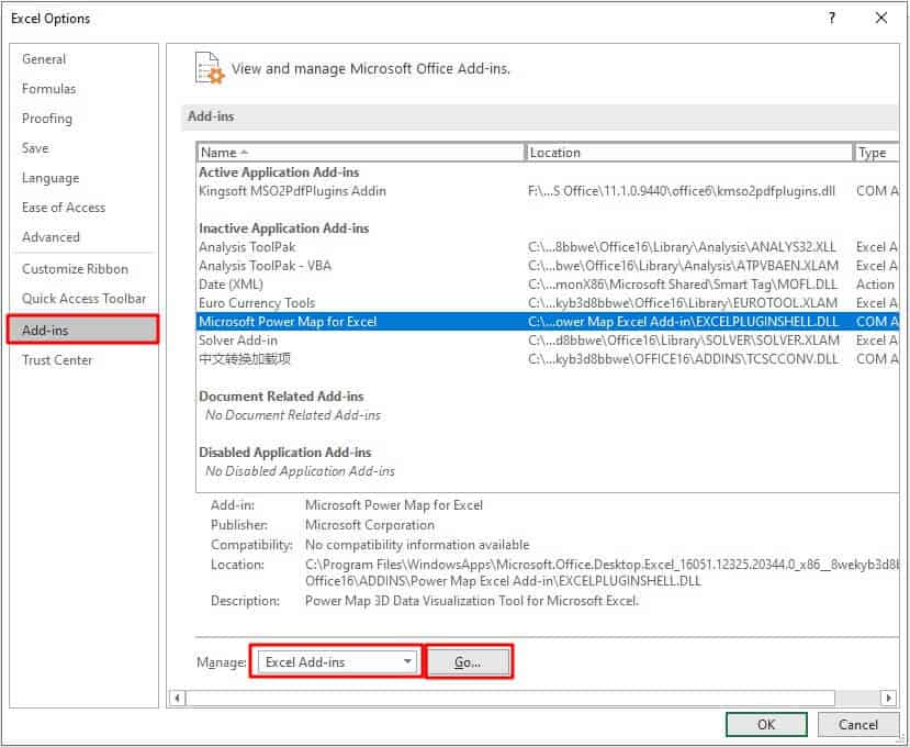 Disable the Excel Add-ins