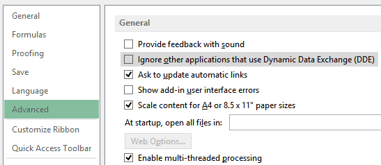 Disabling Dynamic Data Exchange option to fix there was a problem sending the command to the program