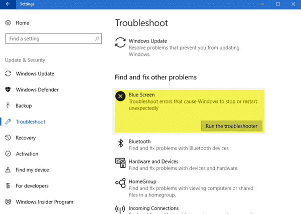 Blue Screen Troubleshooter Windows 10 to fix Kmode_Exception_Not_Handled