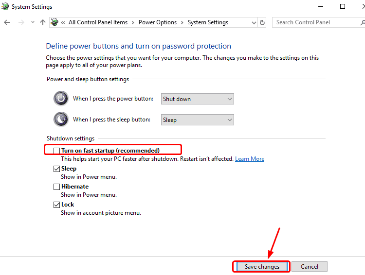 Disable Fast Startup