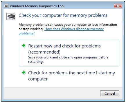 Run Windows Memory Diagnostic to fix Kmode_Exception_Not_Handled