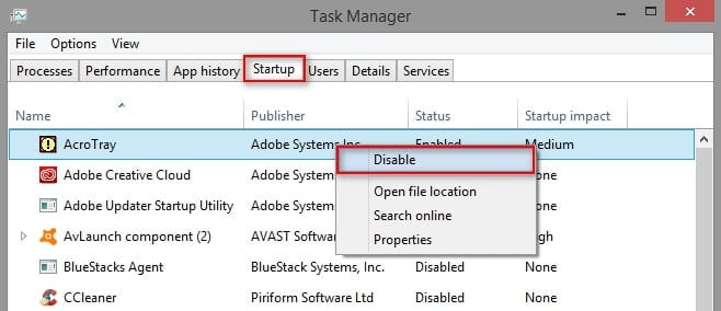 Disable Adobe AcroTray using the Task Manager