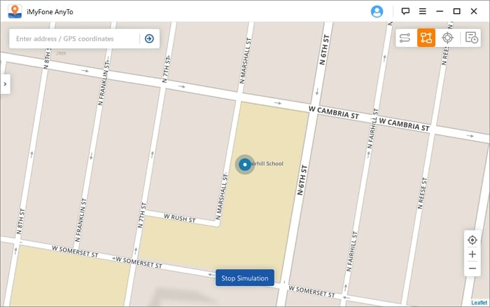 Faking live location with iMyFone AnyTo