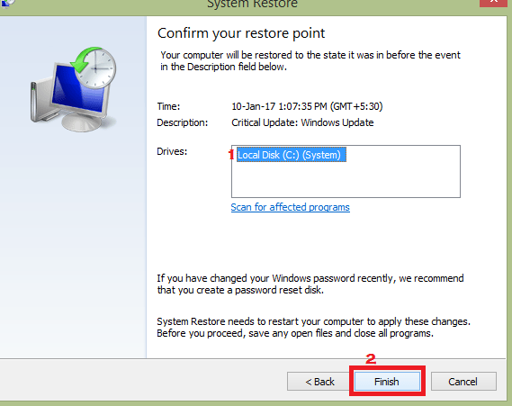 Restore the System with Restore Points to fix igfxTray error
