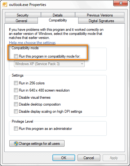 Disable the compatibility Outlook preference to resolve Outlook Loading Profile Stuck error