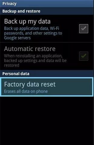Perform a factory data reset to fix Samsung Galaxy Keeps Rebooting