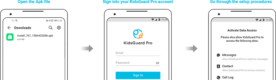 Signup KidsGuard to locate a phone number on google map