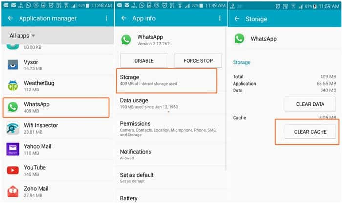 Clear the app cache to fix WhatsApp Backup Stuck