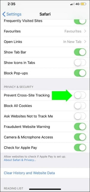 Disable Cross-Site Tracking on iOS Devices
