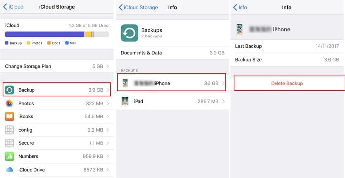 Get rid of the existing iCloud backup