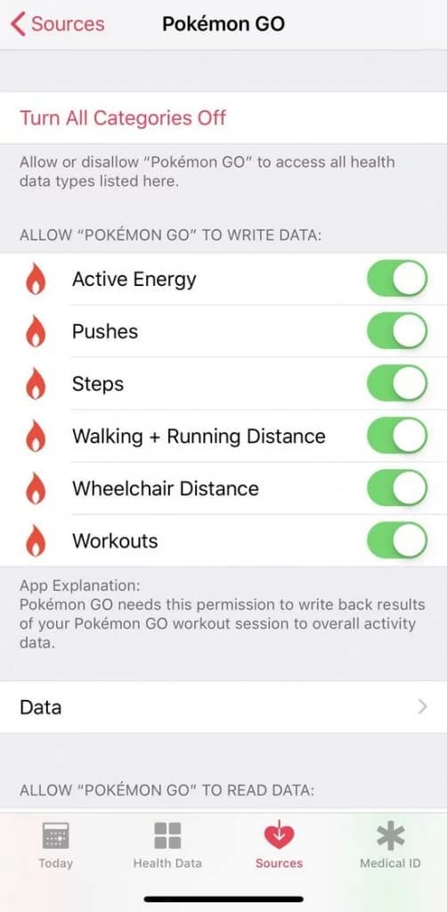 Modify Permissions for Google Fit and Pokemon Go on iOS to fix Adventure Sync not working