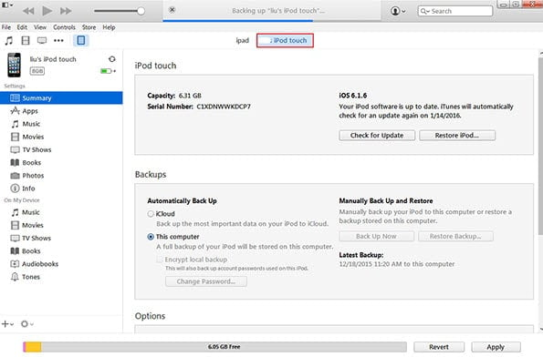 Restore iTunes Backup to unlock your iPod Touch