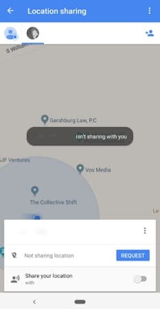 locate a phone number on google map through location sharing requests