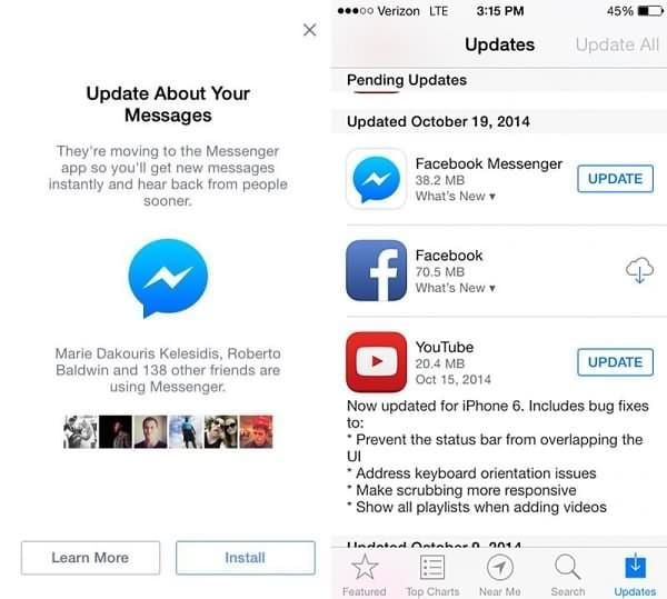 Update the Facebook Messenger App or reinstall it