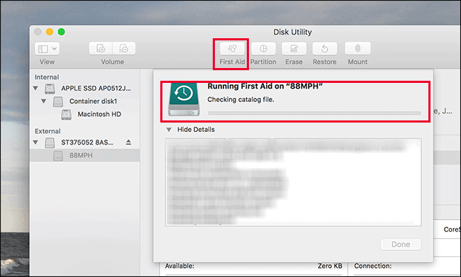 Launch the First Aid Disk Utility