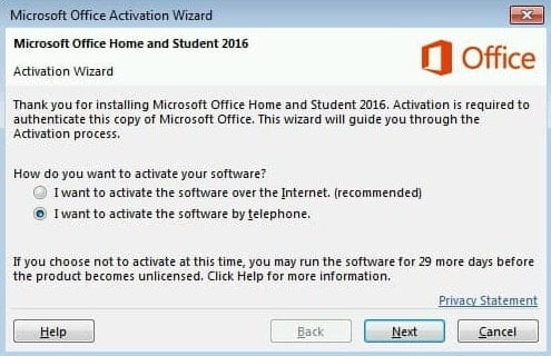 Activating MS Office 2013