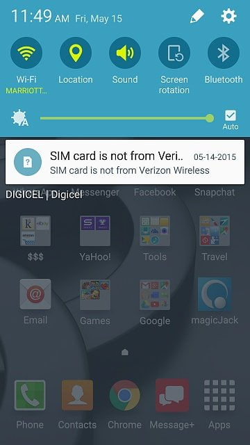 SIM card is not from Verizon