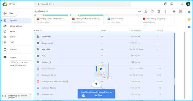 Drag and drop the files from OneDrive to Google Drive
