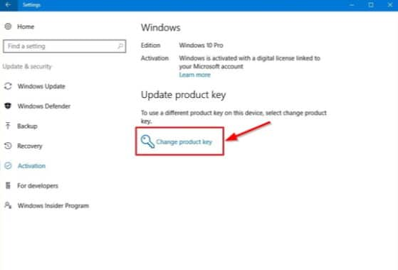 Method of activating Windows 10 with the product keys