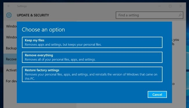 Method of factory resetting the Windows 10 systems