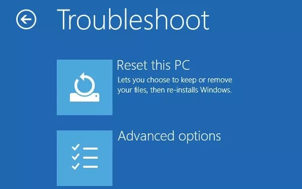 Method of resetting Windows 10 at the login screen without password