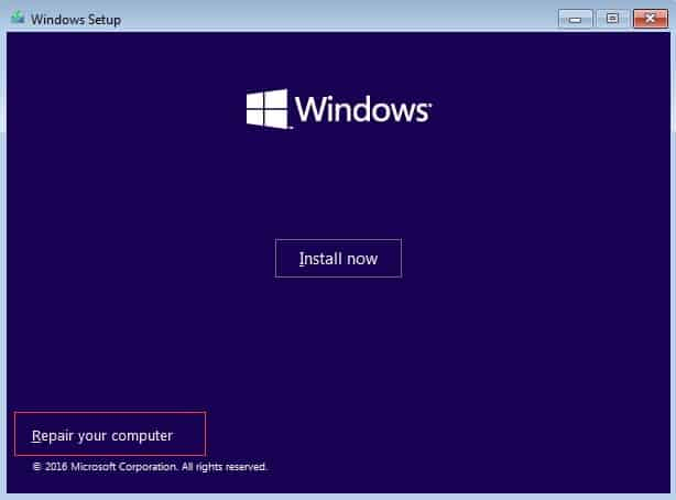 Method of resetting Windows 10 via an installation disk and no password