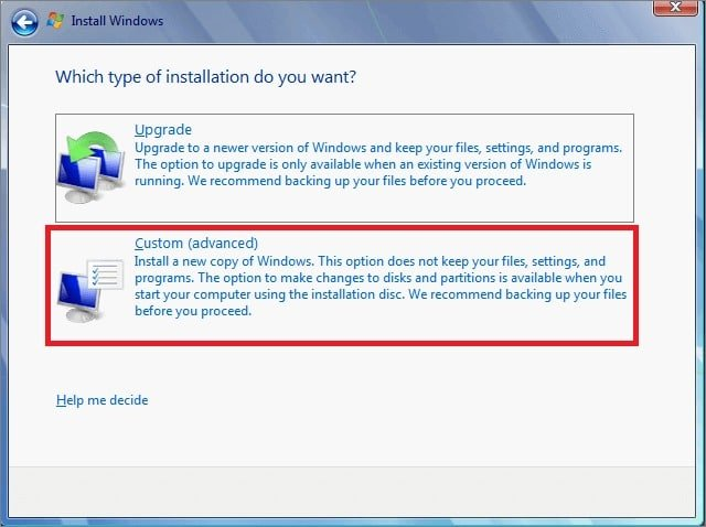 Install Windows to Fix the 0x8004242d Partition Formatting Error