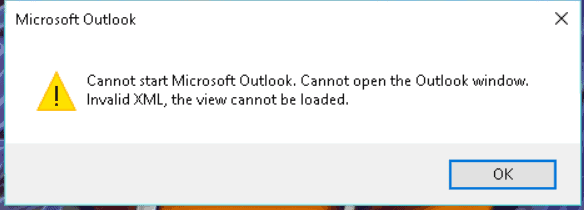 Outlook Invalid XML Error
