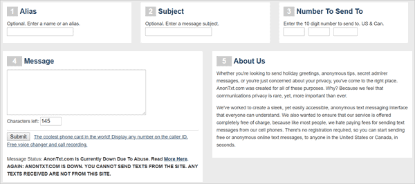 AnonTxt anonymous message website