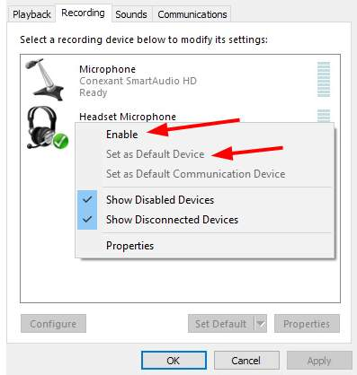 Enable Headset Microphone to fix HyperX Cloud 2 Mic Not Working