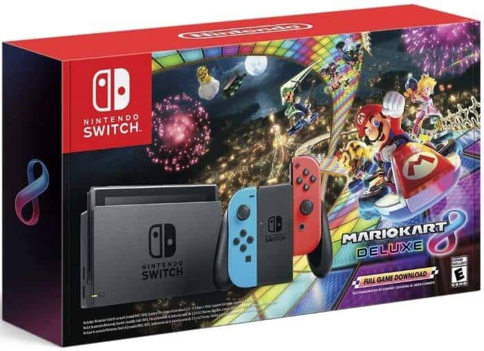 Best Video Game Console for Kids - Nintendo Switch w/ Neon Blue & Neon Red Joy-Con + Mario Kart 8 Deluxe