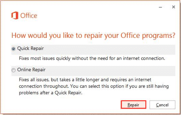 Repair the Office Installation