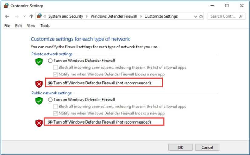 Temporarily disable the antivirus and firewall installed in your system