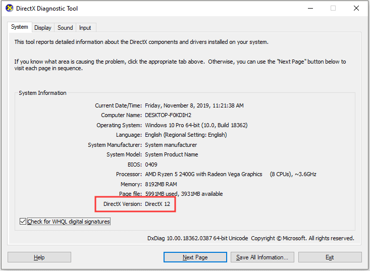 Update your PC's DirectX